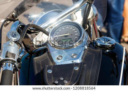 Chromed speedometer of the motorcycle close-up #1208818564