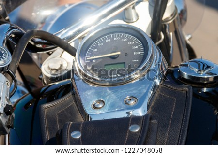 Chromed speedometer of the motorcycle close-up #1227048058