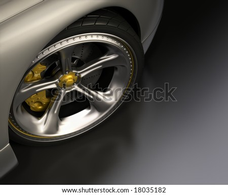 Chromed wheel with yellow details. Exclusive design, good to use without reference of mark. Your text on the right space.
