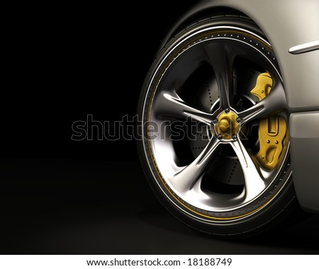 Chromed wheel with yellow details. Exclusive design, good to use without reference of mark. Your text on the left space.