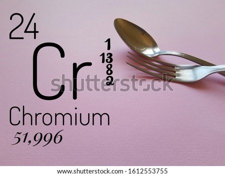 Chromium is a chemical element with the symbol Cr. Chemical symbol Cr with atomic data (atomic number, atomic mass and electron configuration) and stainless steel cutlery in the background.