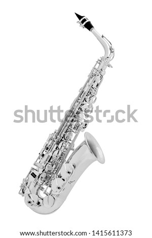 Chromium-plated classic musical instrument saxophone isolated on white background. Music instruments series