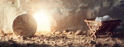 Chronology of Jesus life. Christian Christmas and Easter concept. Born to Die, Born to Rise. Wooden manger and empty tomb background. Jesus - reason for season. Salvation, Messiah, Emmanuel.