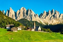 Chruch of Santa Maddalena at the Dolomites in Italy