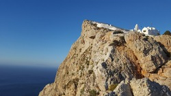 Chruch on the cliffs in Folegandros next to the Aegean