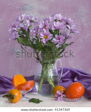 chrysanthemum and persimmon