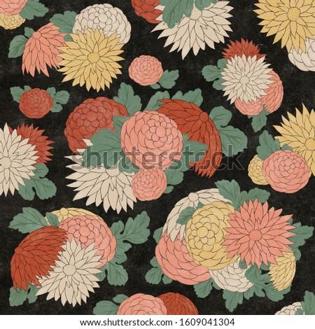 Chrysanthemum flowers in Japanese woodblock print style Stock photo ©