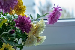 chrysanthemums white yellow pink in a glass on the window sill by the window