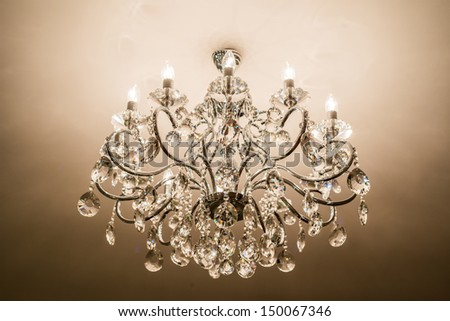 Chrystal chandelier with lights on