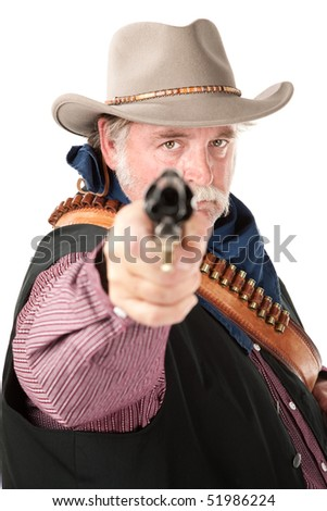 Chubby cowboy with pistol on white background