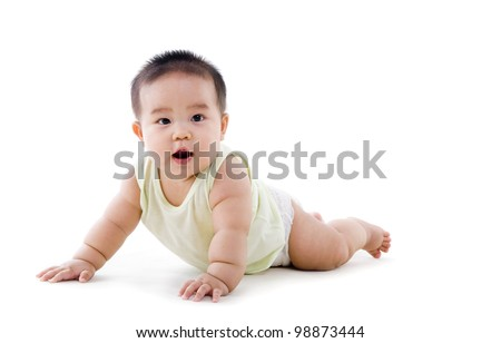 chubby crawling baby