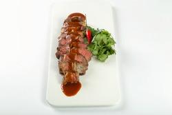 Chuck Steak with Jack Sauce, white background