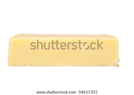 chunk of cheddar cheese isolated over white