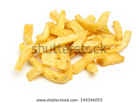 Chunky chips on white background.