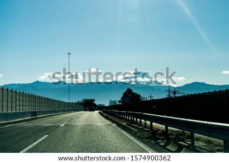 Chuo Expressway. An expressway of Japan. Mount Fuji. #1574900362