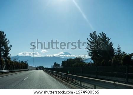 Chuo Expressway. An expressway of Japan. Mount Fuji. #1574900365
