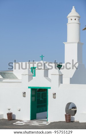 Church against deep Blue sky - Lanzarote, Spain
