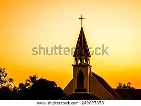 Church against sunset