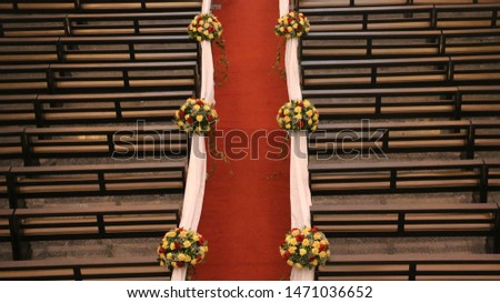 Church aisle decoration with flower arrangements.  #1471036652