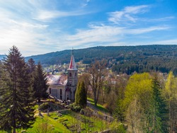 Church and cemetery from above