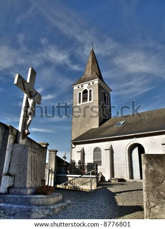 Church and cemetery in a small village in France