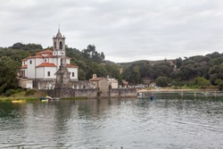 Church and cemetery of Los Dolores in Niembro bay, Asturias, Spain