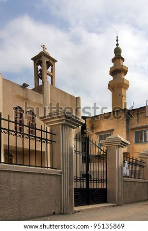 Church and mosque side-by-side, Tripoli, Lebanon