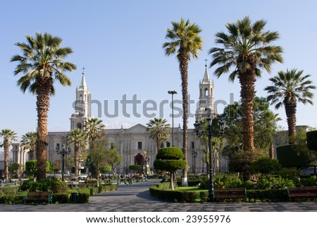 Church and palm trees on Plaza de Armas in Arequipa, Peru, South America