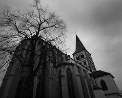 Church architecture on a stormy day. Black and White Photography with wideangle lenses.