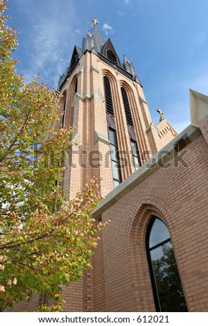 church architecture, wide angle vertical with a touch of autumn
