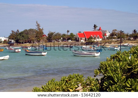 Church at Cap Malheureux on the north coast of Mauritius - stock photo