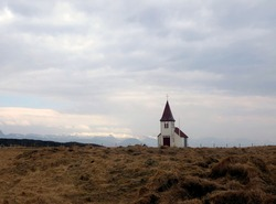Church at Snaefellsnes, Iceland with the Snaefellsjokull Glacier as a backdrop