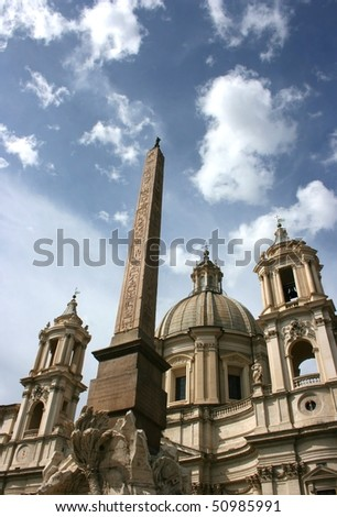 Church at the Navona square (Piazza Navona). Rome, Italy