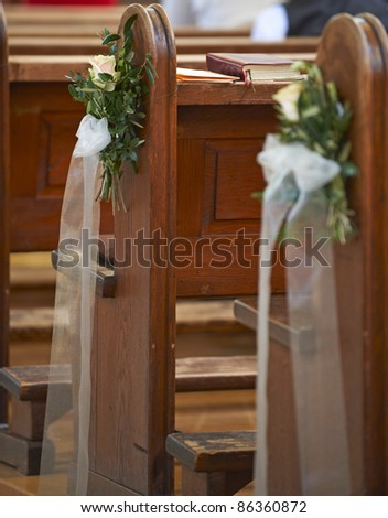 Church bench decoration for wedding