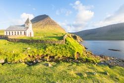 Church by the sea, Vidareidi, Viðareiði, Faroe Islands, Denmark, Northern Europe, Europe