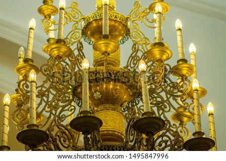 church candelabrum in the church of the Christian church. concept of hope for god #1495847996