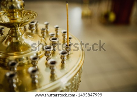 church candelabrum in the church of the Christian church. concept of hope for god #1495847999