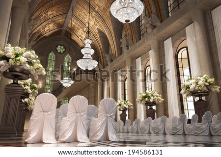 Church Cathedral wedding interior with rows of elegant chairs and flowing flower arrangements.