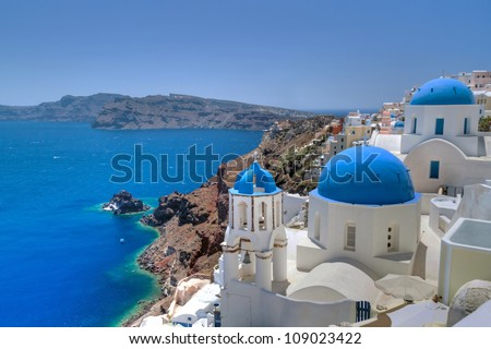 Church Cupolas and the Tower Bell from Santorini, Greece