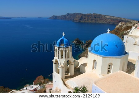 stock photo Church Cupolas and the Tower Bell from Santorini Greece