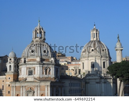 Church domes in Rome, Italy #649692214