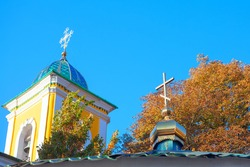 Church domes with christian cross . Orthodox Steeple