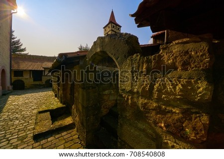 church fortress in the evening, Ostheim v.d.Rhön, Germany                                Stock fotó ©