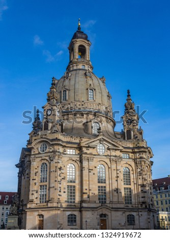 Church Frauenkirche (Church of the Virgin) in Dresden, one of the most significant Lutheran churches of the city #1324919672