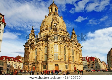 Church Frauenkirche in Dresden Germany on a sunny day with blue