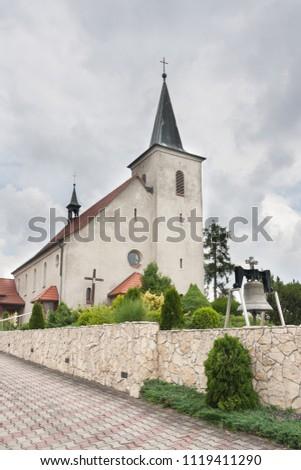 Church from 1934 dedicated to the Sacred Heart of Jesus. Built in the village of Wojska in the Tarnogorski poviat. Upper Silesia, Poland, Europe. Zdjęcia stock ©