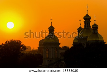 Church in a sunset beams in St.-Petersburg