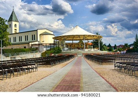 Church in Medjugorje, Bosnia and Herzegovina, Europe with a huge event place and seats
