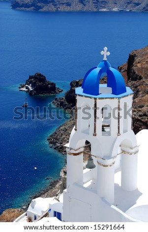 stock photo church in SantoriniGreece