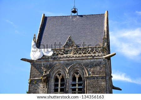 Church in St. Mere Eglise, Normandy Photo stock ©